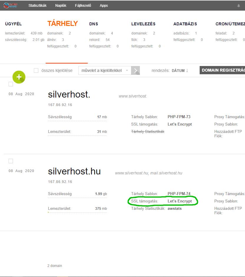 Silverhost - SSL készítése
